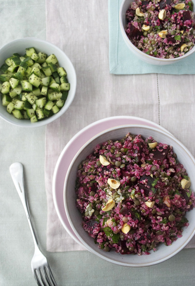 beetroot quinoa puy salad