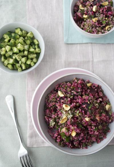 beetroot quinoa puy salad