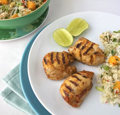 thai chicken and mango rice