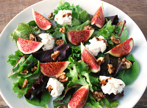 Fig, goats cheese & walnut salad with balsamic & honey dressing ...
