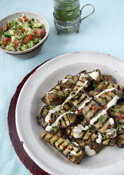marinated aubergines tahini dressing