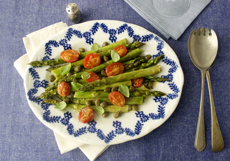 roast asparagus and tomato