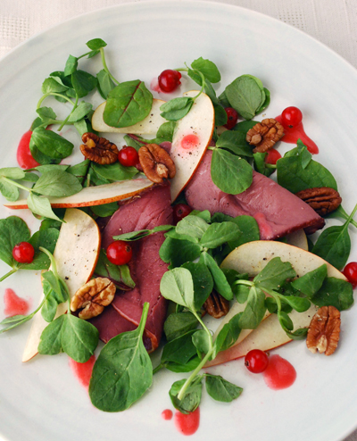 smoked venison and redcurrant salad