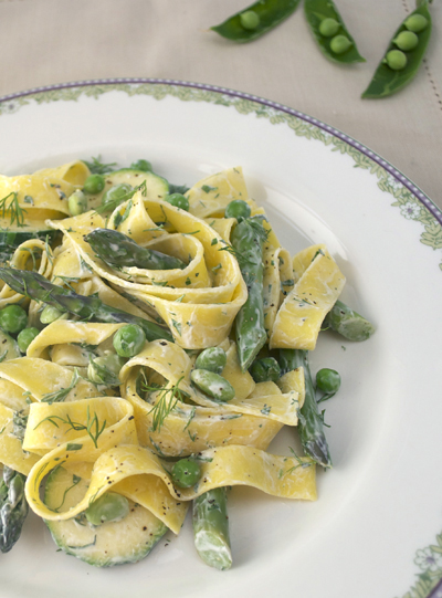 Spring veg pappardelle