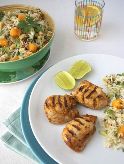 thai chicken mango rice salad