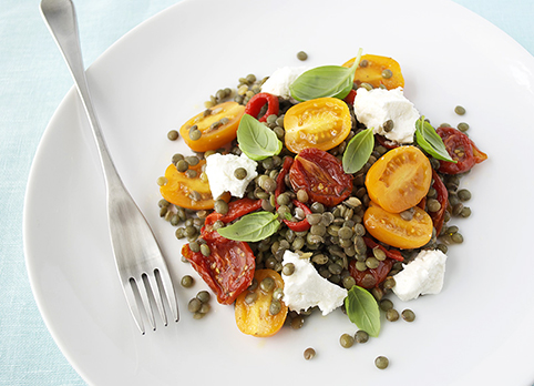tomato puy lentil goats cheese salad