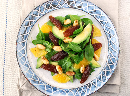 Medjool date salad with orange, avocado & spiced almonds | Hearty Food