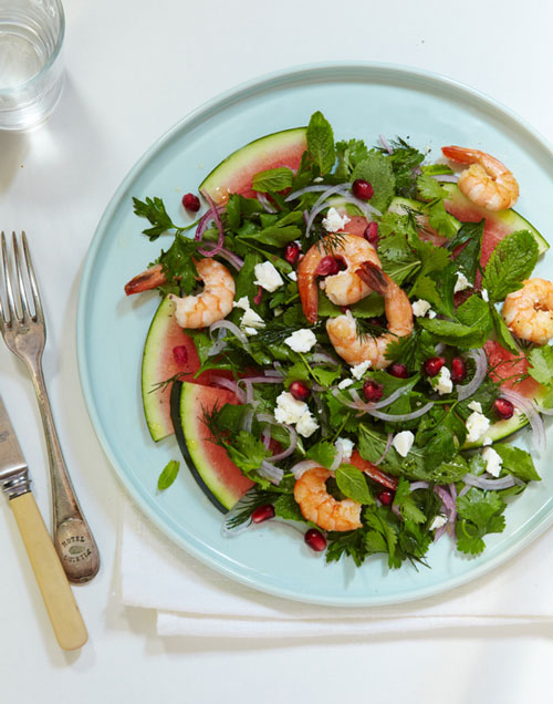 Watermelon, prawn, feta & herb salad | Hearty Food